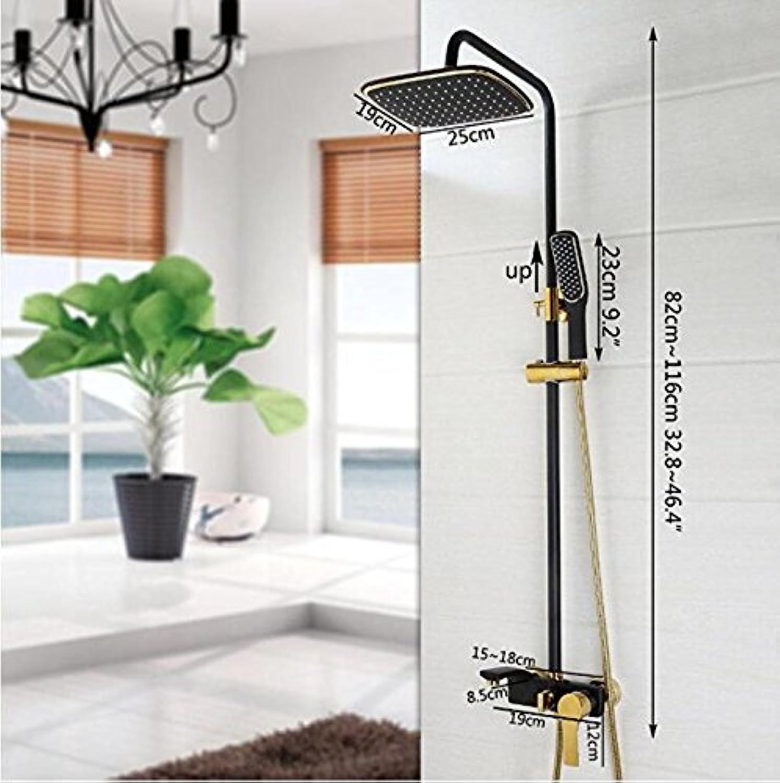 Makej Shower Set Black gold-Plated Wall Mounted Bath Shower Faucet redation Shower Head Water Saving High