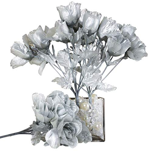 BalsaCircle 84 Silver Silk Rose Buds - 12 Bushes - Artificial Flowers Wedding Party Centerpieces Arrangements Bouquets