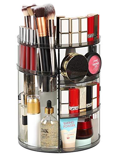 Syntus 360 Rotating Makeup Organizer, DIY Adjustable Bathroom Makeup Carousel Spinning Holder Rack, Large Capacity Cosmetics Storage Box Vanity Shelf Countertop, Fits Makeup Brushes, Lipsticks, Grey