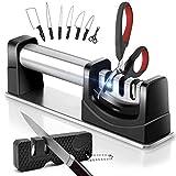 IAGORYUE Afilador de Cuchillos Profesional - Afilador Cuchillos y Tijeras 3 en 1- Afilador de Cuchillos de Cocina con Afilador de Bolsillo - para Tipos de Cuchillos - con Base Antideslizante - Noir