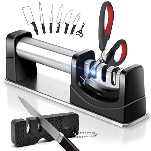 Aiguiseur Couteaux Professionnel - 3 en 1 affuteur Couteau Cuisine - Eguiseur Manuel - Diamant pour Meulage de Ciseaux/Acier au tungstène pour Grossier/Ceramique pour Fin - Base Anti-Dérapante - Noir