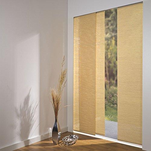 Komplettset ELISA Schiebevorhänge 3er Set, inkl. Deckenschiene 160 cm, Bambus natur