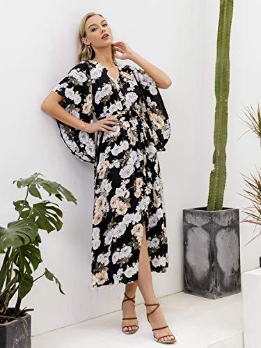 Simplee Apparel Women's Strap Ruffle Cold Shoulder Floral Print Wrap Maxi Dress Beach White