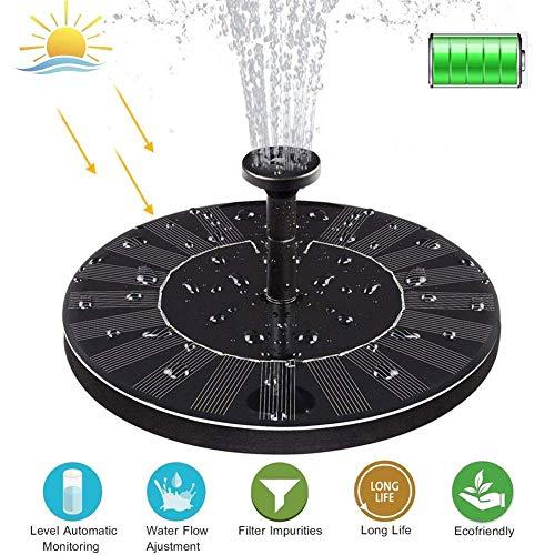 2W SolarTeichpumpe mit akku Wasserpumpe Solar Springbrunnen Monokristalline Solar Panel Solar Springbrunnen Solarpumpen Gartenpumpe Solar Wasserpumpe für Gartenteich Springbrunnen Teich, Pool, 210L/H