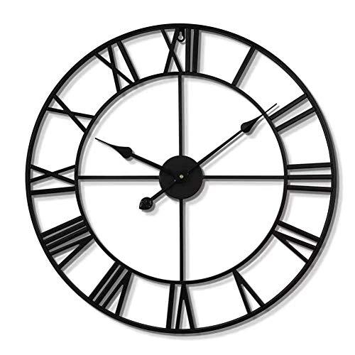 Retro Wanduhr aus Metall, Vintage Wanduhr mit Großen Römischen Ziffern 40cm, Stille Dekorative Uhren für Haus, Wohnzimmer, Küche