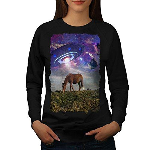 wellcoda Pferd UFO Raum Tier Frau Sweatshirt Pferd Lässiger Pullover