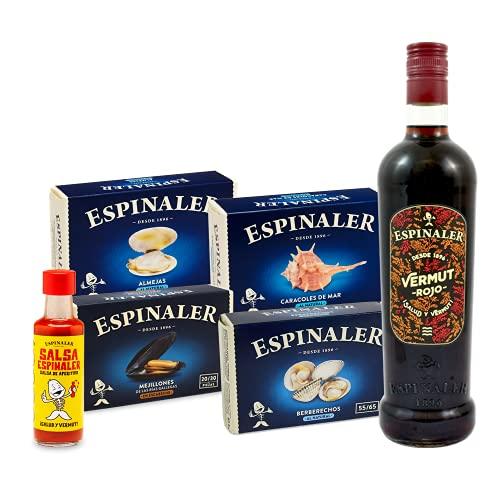 Espinaler cesta gourmet aperitivo | Pack regalo con vermut rojo, salsa Espinaler, berberechos, almejas, mejillones y caracoles de mar | Lote aperitivo completo