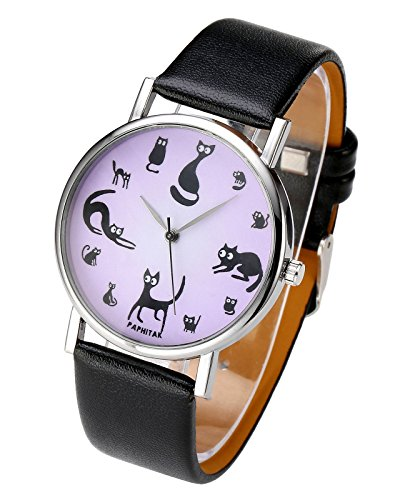 JSDDE Reloj de pulsera para mujer o niña, diseño vintage con motivo de gatos, analógico, movimiento de cuarzo