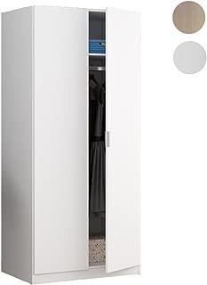 Habitdesign LCX022O - Armario Dos Puertas, Color Blanco Mate, Medidas: 180 x 81 x 52 cm de Fondo