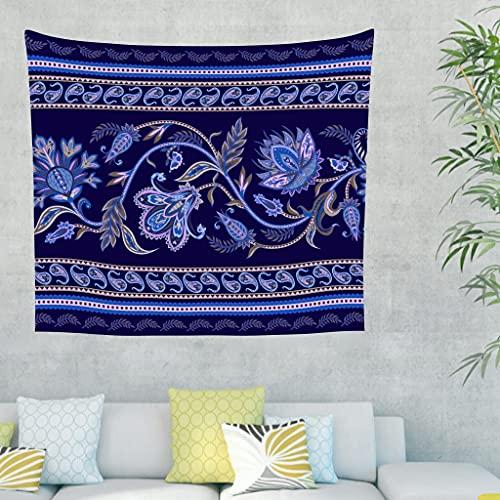 Raainhao Tapiz de flores étnicas azul para decoración de la tienda de dormitorio colgante de pared alfombra de pared blanca hippy 59 x 51 pulgadas