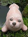 Tiefes Kunsthandwerk Steinfigur Seehund groß Terrakotta, Deko Figur Teich Garten Stein frostsicher