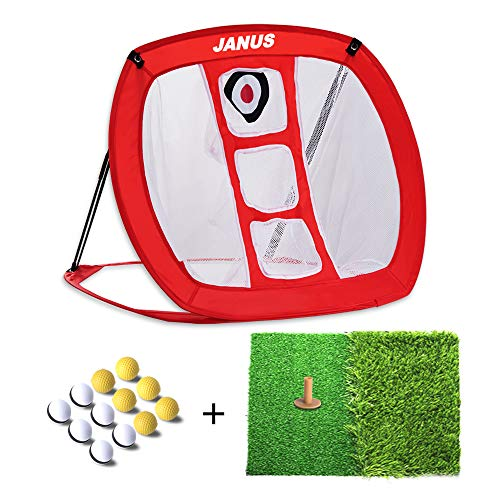 Janus Golf Chipping Net | golf accessories for men and women with 12 Practice Golf Balls, Dual Turf Hitting Mat and Rubber Tee | Driving Range Target Swing Training Aids Backyard | Indoor | Outdoor