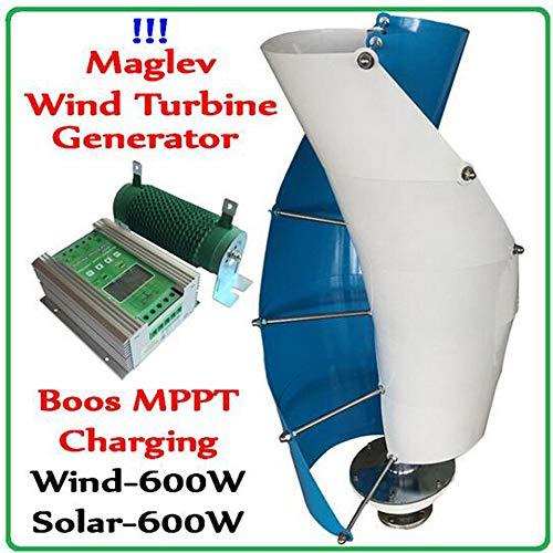 MEIGONGJU 600W Maglev Wind-Turbine-Generator Vertikale Windgenerator + 1200W Boost-MPPT Wind 600w Solar-600w Hybrid-Controller-Regler,12v