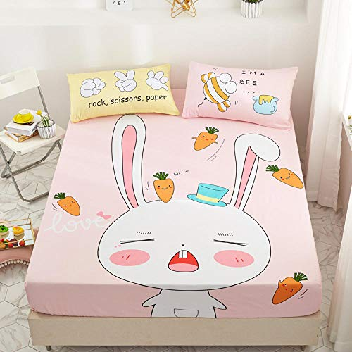 lhmlyl Bed Sheets Double Fittedchildren'S Bed Lisa Single Piece 1.2M1.5 Cartoon 1.8M Bed Cotton Group Bed Cover Mattress Cover-Bunny_Single Bed Li 150X200