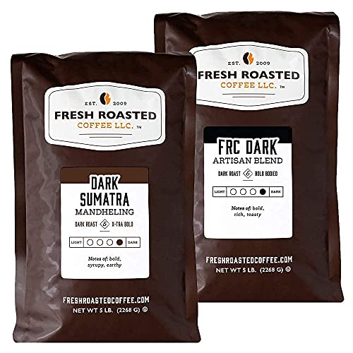 Fresh Roasted Coffee, Dark Sumatra Mandheling / FRC Dark Roast Blend, Bundle, Whole Bean, 5 Pound Bags