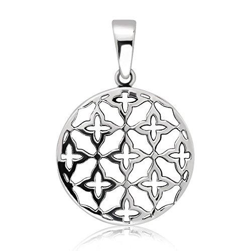 WithLoveSilver de plata de ley 925Círculo colgante de la flor de la vida