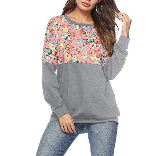 x8jdieu3 Damen Bedruckter Rundhals Langarm Lose Pullover Übergroße Pullover T-Shirt Sweatshirt Bedrucktes Sweatshirt-Oberteil