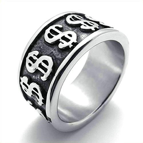 Daesar Homme Bagues Acier Inoxydable Bague de Mariage pour Homme Dollar Argent Noir Bagues 12MM Taille:59