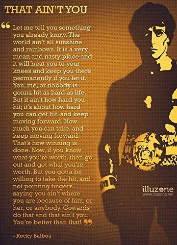 """Rocky Balboa (Quotes 12) Get Motivated Poster 16 x 25 """" Print Sticker Retro Unframed Wall Art Gifts 40x63cm"""
