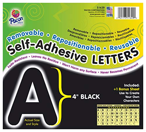 """Pacon PAC51620 Self-Adhesive Letters - Removable, Repositionable, Reusable, 4"""", Black, 78 Pieces"""