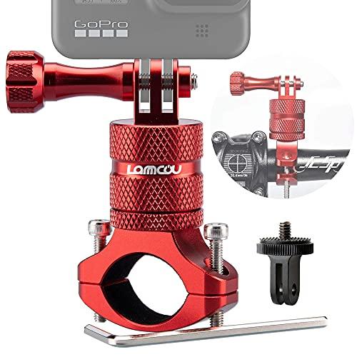 Lammcou 2in1 Fahrrad Kamera Halterung Kompatibel mit GoPro Mountainbike Lenkerhalterung Fahrradhalter Motorrad Halter für Hero 9 8 7 6 Session Hero+ 4K Osmo Action Camera Bike Mount - Rot