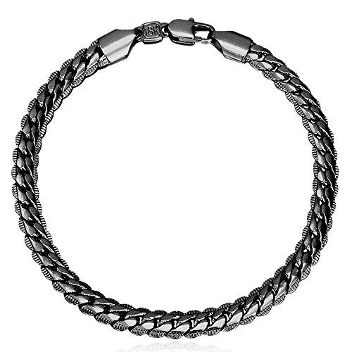 Pulseira U7 masculina e feminina com elos modernos, joias de pulso aço inoxidável/ouro 18 K, pulseira de corrente fígaro/cubano/covinho/corda, largura de 3-12 mm, inoxidável/preto/ouro/ouro rosê opções de cores 8.3 inches Preto