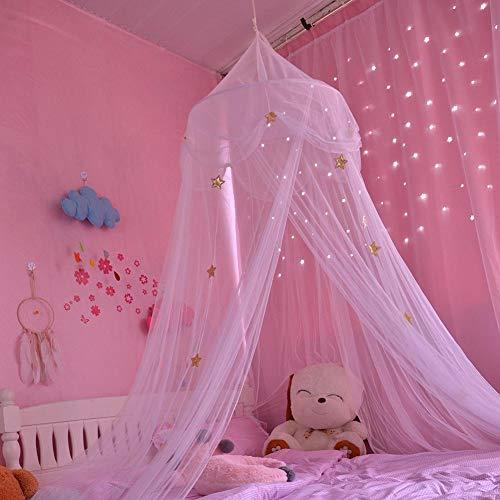 Tienda de campaña para niñas, mosquitera para habitación de los niños, con diseño de estrellas azules, rosas y blancas