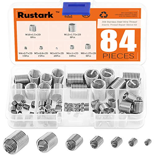 Rustark - 84 piezas de inserciones de rosca de acero inoxidable 304 métrico M3 M4 M5 M6 M8 M10 M12 tipo helicoidal para reparación de tornillos