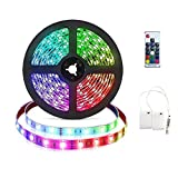 Tira de luces LED RGB de 3m con pilas Tira de luces LED RGB flexible Luces de cuerda a prueba de...