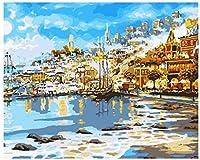 DIYデジタル油絵子供S海辺の町子供s絵画海油絵アクリル絵の具モダンホーム40x50cmフレームレス