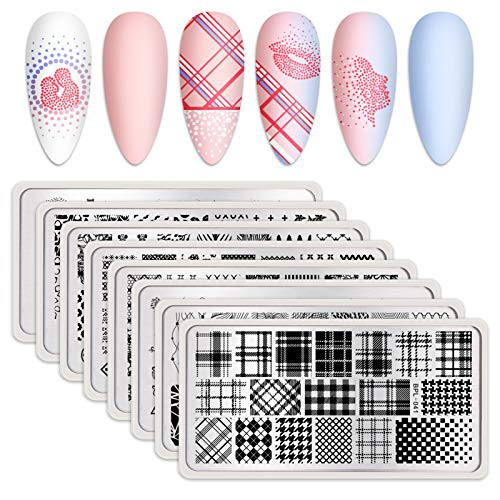 BORN PRETTY Nail Art Stamping Plates Plaid Theme Image Plates DIY Nail Art 8Pcs