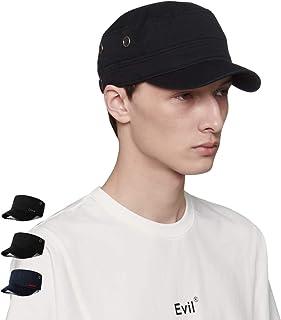 CACUSS Men's 100% Cotton Classic Army Caps Military Hat Adjustable Comfy Cadet Hat Vintage Flat Top Cap Baseball Cap