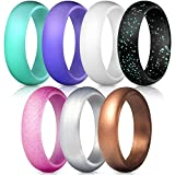 ThunderFit Silicone Rings, 7 Pack Wedding Bands for Women - 5.5 mm Wide (Teal Purple White Silver Bronze Black Pink Glitter, 6.5-7...