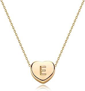 گردنبند اولیه قلب طلای کوچک-طلا 14K پر شده دست ساز ساخته شده و دلپذیر نامه شخصی کارت قلب چوکر گردنبند هدیه برای کودکان و نوجوانان جواهرات گردنبند کودک