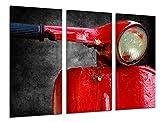 Cuadro Fotográfico Motocicleta Vespa Vintage Roja Tamaño total: 97 x 62 cm XXL
