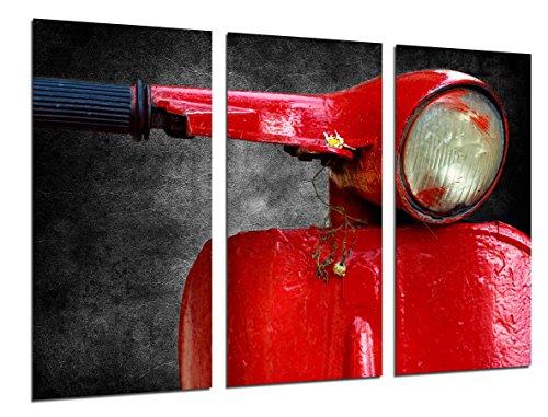 Cuadro Fotográfico Motocicleta Vespa Vintage Roja Tamaño