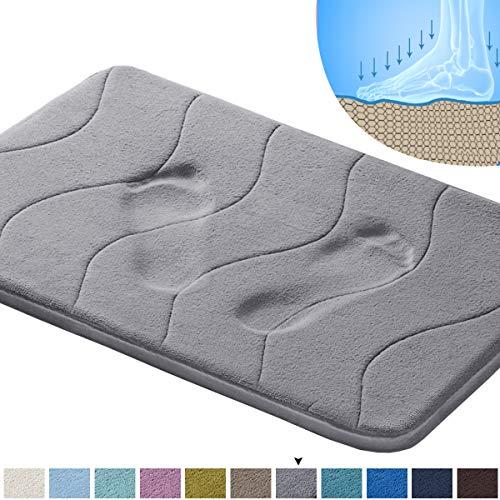 20' x 32' Soft Bath Mat Extra Absorbent Memory Foam Rug Area Rug Toilet Floor Rug Machine-Washable, Perfect Bath/Tub Non-Slip Rubber Bathroom Rug Mats Water Absorbent Gray Waved Pattern