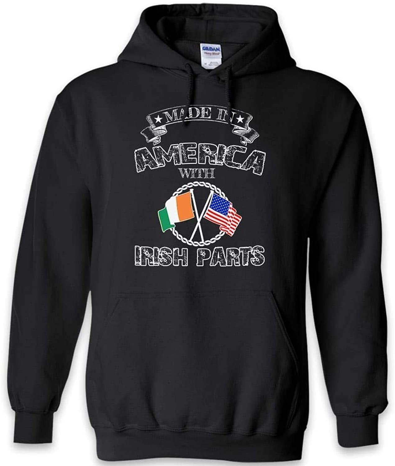 Teelaunch Made in America Irish Parts Funny Hoodie   Black Navy Grey   S to 2XL