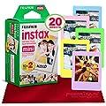 Fujifilm Instax Mini Instant Film (20 Sheets) Instax Mini + 5 Picture Frames + FiberTique Cleaning Cloth (USA Warranty) from FUJIFILM