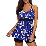 Zando Two Piece Swimsuits for Women Tummy Control Swimsuit Plus Size Bathing Suits Modest Tankini Top with Boyshort Swimsuits Tankini Slimming Swimming Suit for Women Blue White Flower 4XL (US 18-20)