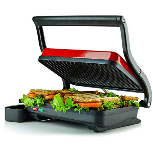 Ovente Electric Indoor Panini Press Grill with Non-Stick Double Flat Cooking Plate & Removable Drip Tray, Countertop Sandwich Maker Toaster Easy Storage & Clean Perfect for Breakfast, Red GP0620R