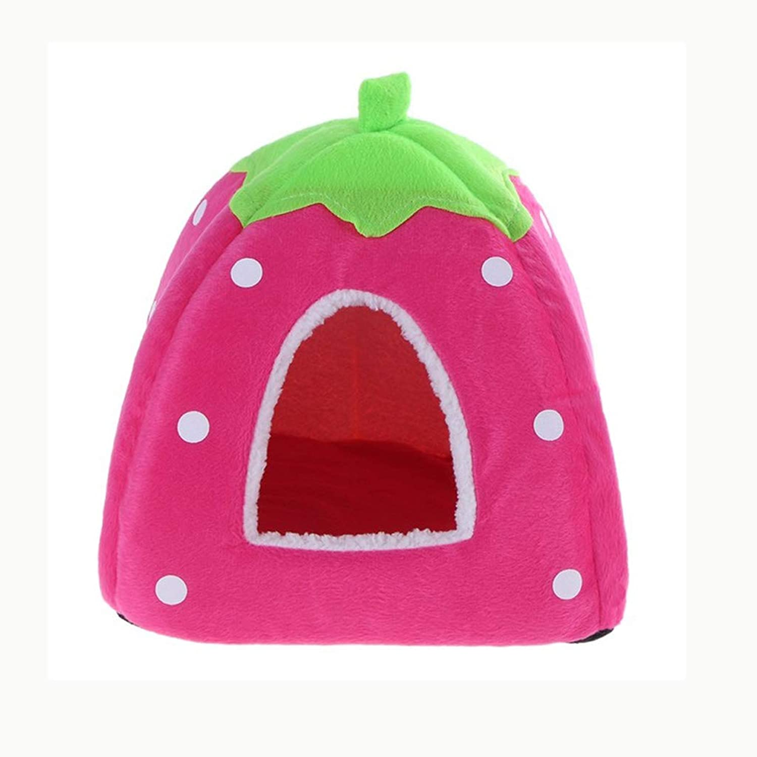 Cat House Foldable Leopard Strawberry Dog Bed Animal Cave Puppy Kennel Soft Pet Cat Dog House S M L XL XXL (color   Pink, Size   M)