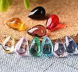 30 unids / lote 6 * 9mm cuentas de vidrio de gota de agua multicolores forma de gota de lágrima cuentas colgantes de cristal para collar de bricolaje accesorios de joyería
