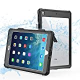 ShellBox Case iPad 8th/7th Generation Waterproof Case, Full-Body Heavy Duty Shockproof Protective Cover Built-in Screen Protector with Shoulder Strap for iPad 10.2 2020/2019 (Black)