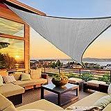 Koqit Toldo con cuerdas de fijación,toldo triangular 3 x 3 x 3 m,impermeable,protección solar,transpirable,polietileno de alta densidad,protección UV,lona Permeable para terraza,balcón y jardín,gris