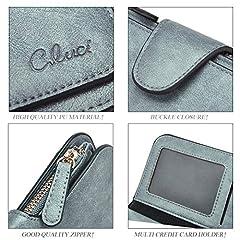 CLUCI Women Wallet Soft Leather Designer Trifold Multi Card Organizer Lady Clutch #5