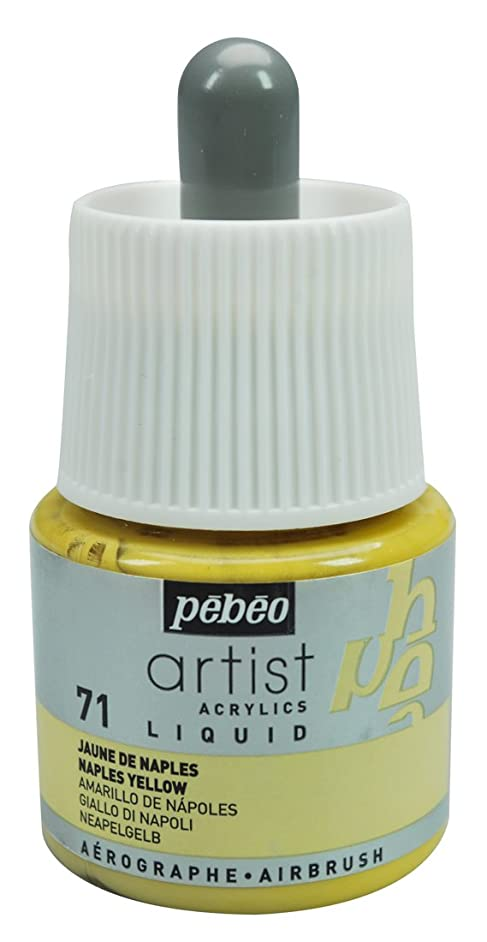 Pebeo Artist Acrylics, Liquid Acrylic Ink, 45 ml Bottle with Dropper - Naples Yellow