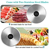 Meat Slicer, Anescra 200W Electric Deli Food Slicer with Two Removable 7.5'' Stainless Steel Blades and Food Carriage, Child Lock Protection, 0-15mm Adjustable Thickness Food Slicer Machine- Silver