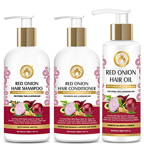 Mom & World Red Onion Hair Shampoo 300ml + Hair Conditioner 300ml + Hair Oil 200ml - With Redensyl And Natural DHT Blockers