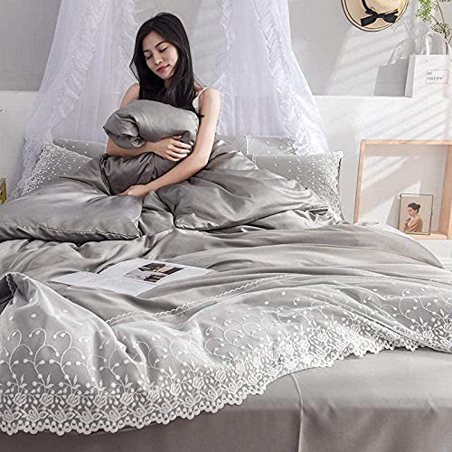 Cactuso bedclothes double bed,White Duvet Cover Queen Size,Down Is Sakou Silk Bedding Is Used. Bed Double Bed White-220 * 240cm(4pcs)_gray